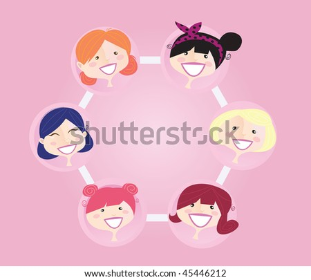 Women networking group. Women network group illustration. Vector format.