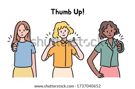 Women of various races are doing thumb ups. hand drawn style vector design illustrations.