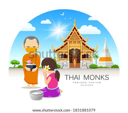 Women offering alms to Thai monks put face mask, on thailand temple pagoda cloud and sky design background, vector Eps 10 illustration