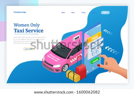 Women Only Taxi Service concept. Smartphone and touchscreen.