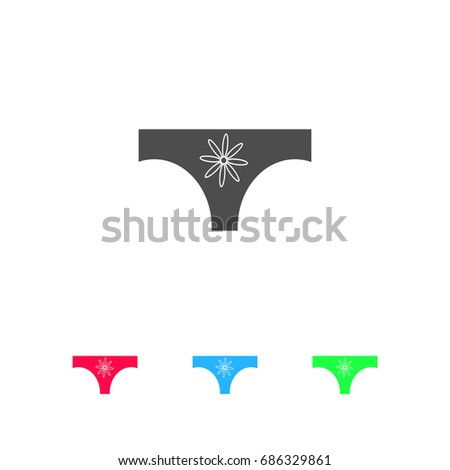 Women panties icon flat. Color pictogram on white background. Vector illustration symbol and bonus icons