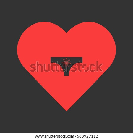 Women panties icon flat. Simple pictogram on heart background. Vector illustration symbol