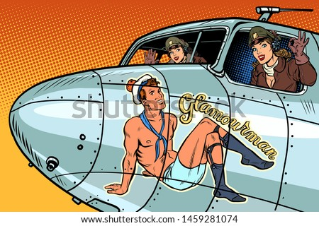 women pilots girls pinup man