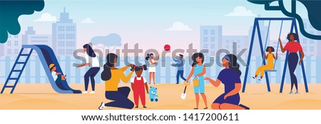Women Playing with Kids on Playground. Mothers Spending Time with Children in Playing Yard in City. Maternity, Childhood, Love, Baby Care, Kindergarten in Summertime. Cartoon Flat Vector Illustration.