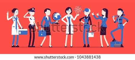 women professions set female