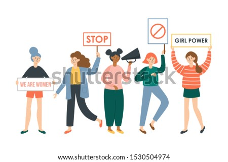 Women protesters and feminism activists holding placards. Female flat characters design
