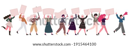 Women protesters. Female movement, feminist activists with banners and placards. Demonstration women rights protection vector illustration set. Feminist rights movement, feminism sisterhood Foto stock ©