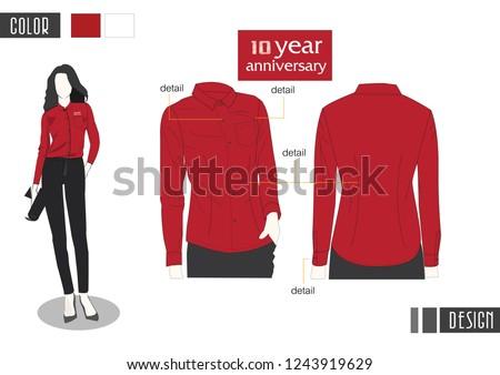 Women red shirt  vector