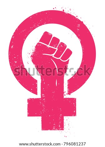 Women resist symbol. Woman fist vector illustration. Isolated background. - Shutterstock ID 796081237