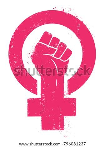 women resist symbol. woman fist ...