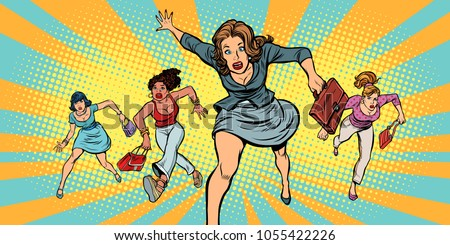 women running in panic for sale. Pop art retro vector illustration comic cartoon vintage kitsch drawing