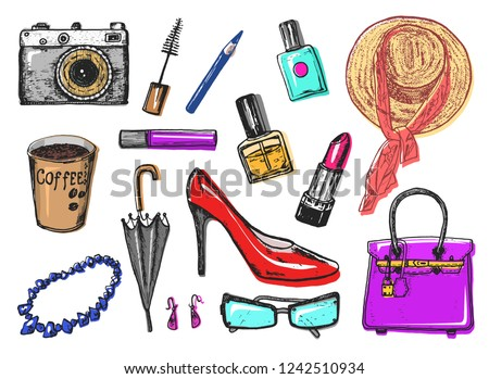 Women s accessories cosmetics. Vintage style. Hand drawn doodle hat, shoes and makeup tools. Set of Patch and Pins.