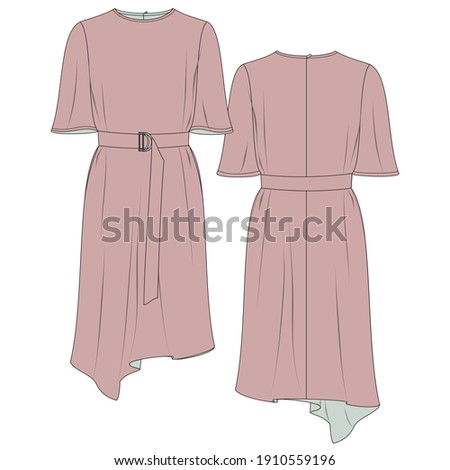 Women's Asymmetric Dress Flat Sketch  Zdjęcia stock ©