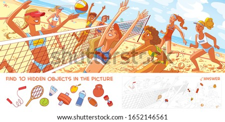 Women's beach volleyball. Panorama. Find 10 hidden objects in the picture. Puzzle Hidden Items. Funny cartoon character. Vector illustration
