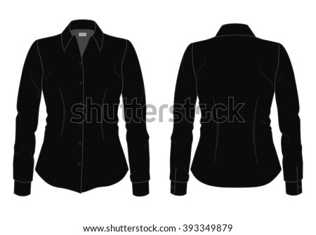Women's black shirt with long sleeves template, front and back view #393349879