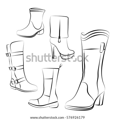 women's boots set hand drawing