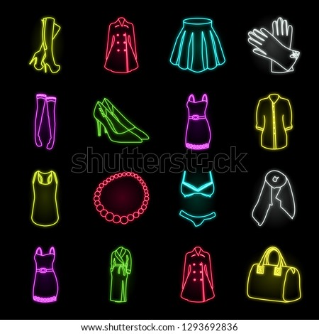 women's clothing neon icons in