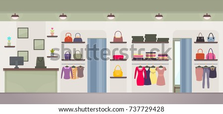 Women's clothing store with wide choose of dresses, handbags or jackets, shirts and pants. Vector illustration with female shop with no customers