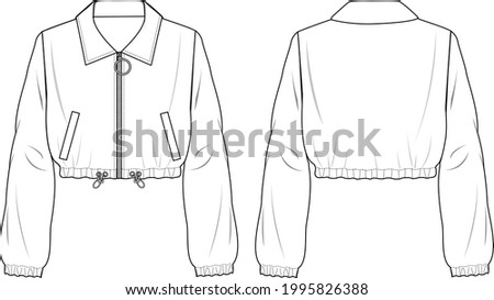 Women's Crop Zip-up Bomber Jacket. Jacket technical fashion illustration. Flat apparel jacket template front and back, white color. Women's CAD mock-up. Foto stock ©