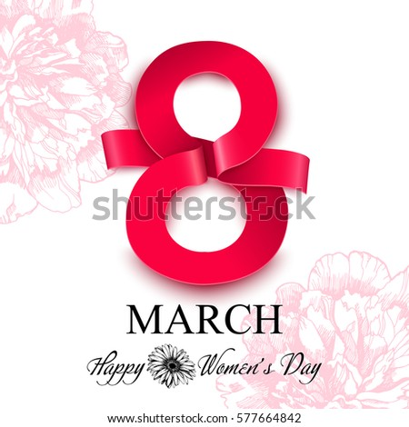 Women's day greeting card. 8 march vector illustration.