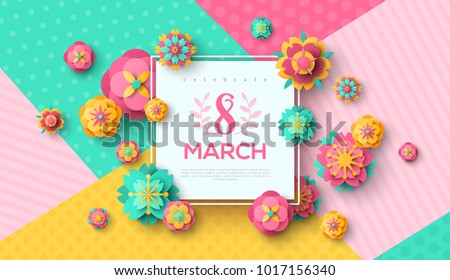 Beautiful text background template download free vector art stock womens day greeting card with square frame and paper cut flowers on colorful modern geometric background m4hsunfo
