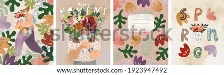 Women's day on March 8! Spring holiday. Vector illustration of a woman with a bouquet, floral ornament and abstract background. Drawings for postcard, card or congratulation