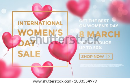 Women's day sale web banner of red heart balloons in light shine on blue background. Vector Women's day sale golden text for holiday shop discount promo design template of heart air ballons on 8 March