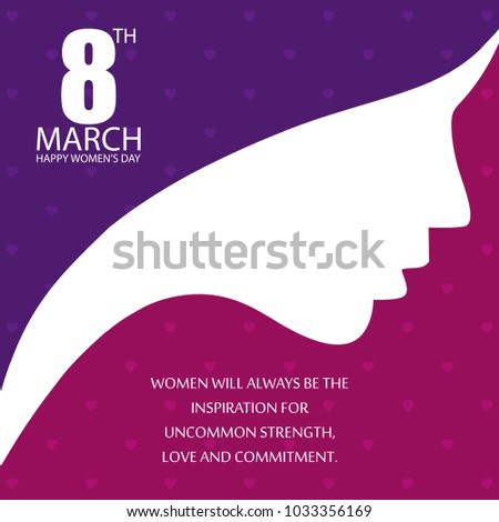 Women's day typogrpahic design with purple and pink pattern back