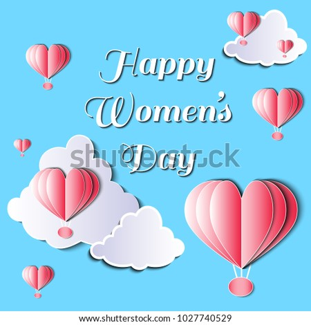Women's day vector illustration with heart shaped hot air balloons and clouds. Paper cutting isolated elements.  #1027740529
