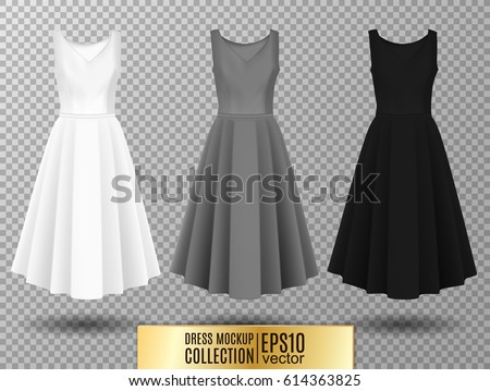 Women's dress mockup collection. Dress with long pleated skirt. Realistic vector illustration. Fully editable handmade mesh. Festive dress without sleeves. White, gray and black variation