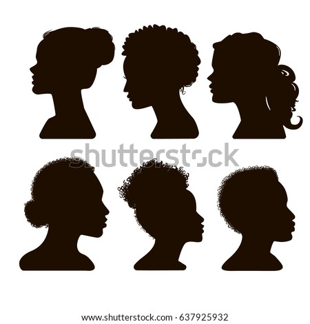 Women's elegant silhouettes with different hairstyles. Silhouettes of African American. Beautiful female face in profile. Vector Illustration