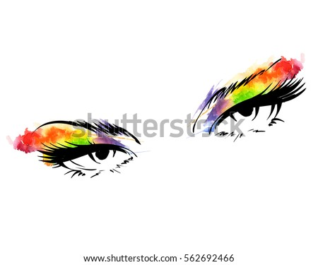 women's eyes with make up
