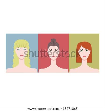 women's faces blonde brunette