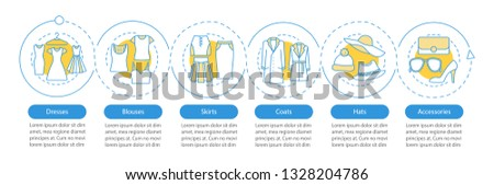 Women's fashion vector infographic template. Clothes. Dresses, blouses, skirts, coats, hats, accessories. Data visualization with six steps, options. Process timeline chart. Workflow layout with icons