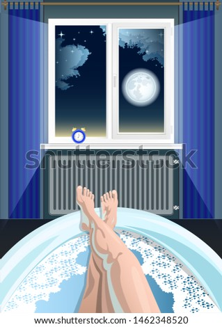 Women's feet, legs in the bathtub, bathroom, first person view. The night starry sky with clouds and full moon in the window, the alarm clock on the windowsill in the background. Vector illustration.
