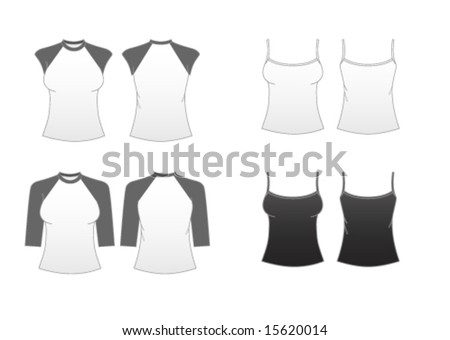 Women's Fitted T-shirt Templates Series 3-Sleeveless Spaghetti-strap,Cap Sleeve and Baseball Tees