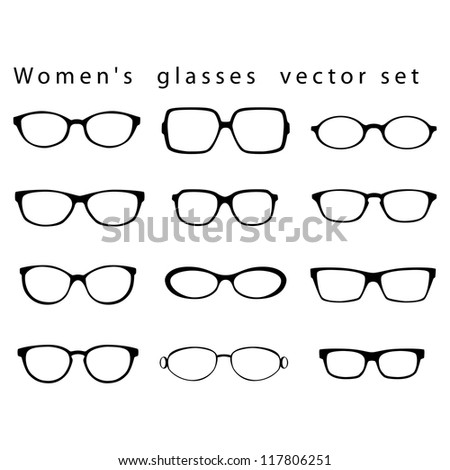 women s glasses vector set