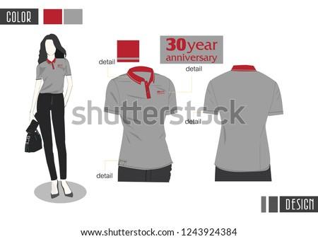 women's gray polo shirt