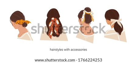 Women's hairstyle with accessories on an isolated background. Hairstyles with a scarf. Instructions for using the scarf. The girl from the back. Beauty salon, how to wear a headscarf. Flat. Vector Stock fotó ©