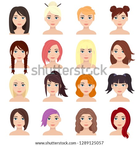 Women's hairstyles set. Long and short hairstyle. Character woman with various haircut and different hair color. Isolated vector illustration