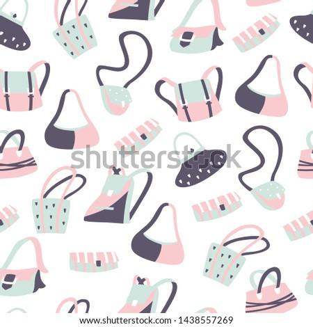 Women's Handbags Vector Pattern on White Background. Seamless Vector Background.