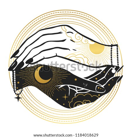Women's hands with moon and sun. Hand drawn vector illustration for t-shirt, temporary tattoo, stickers and other designs