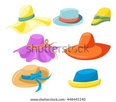 75c6a60f37a64 Women s hats The complete set of female hats summer hats isolated on white  background Featuring Different