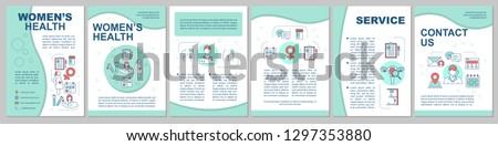 Women's health brochure template layout. Gynecology and obstetrics. Flyer, booklet, leaflet print design. Maternity hospital. Vector page layouts for magazines, annual reports, advertising posters