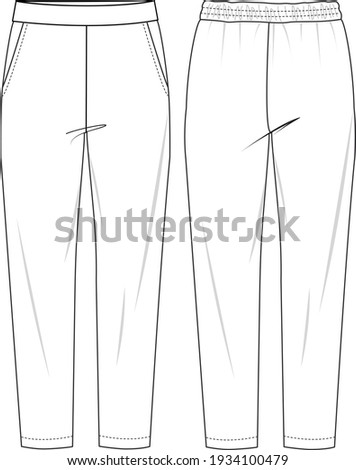 Women's High Waist Tapered Trousers. Trousers technical fashion illustration with elastic waistband. Flat apparel trousers template front and back, white colour. Unisex CAD mock-up.