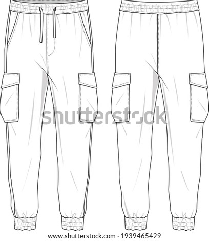 Women's High Waisted, Side Pocket Cargo Joggers Pants. Joggers technical fashion illustration with elastic waistband. Flat apparel joggers template front and back, white colour. Unisex CAD mock up.