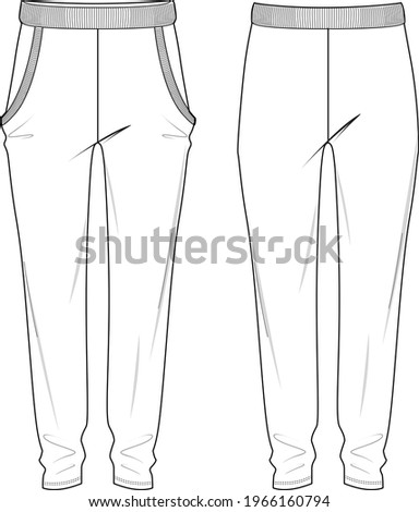 Women's High Waisted, Side Pocket Joggers Pants. Joggers technical fashion illustration with elastic waistband. Flat apparel joggers template front and back, white colour. Unisex CAD mock up. Photo stock ©