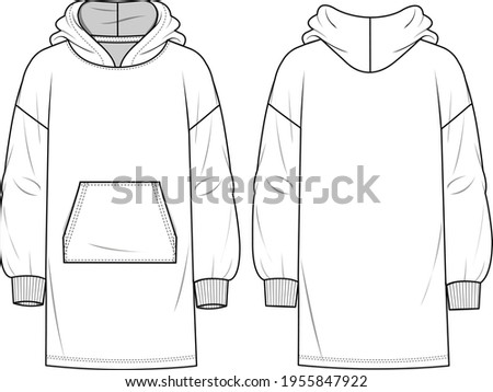 Women's Hooded Sweatshirt Dress. Dress technical fashion illustration with front pocket detail. Flat apparel dress template front and back, white colour. Women's CAD mock-up. Сток-фото ©