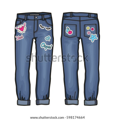 women's jeans with cute patch