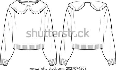 Women's Knit Jumper With Collar- Jumper technical fashion illustration. Flat apparel jumper template front and back, white colour. Women's CAD mock-up. Foto d'archivio ©